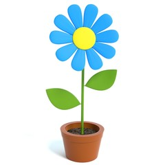 3d illustration of a cartoon flower