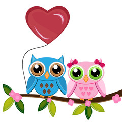 two owls on a branch with heart air balloon