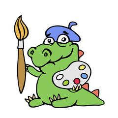 cute dinosaur artist painter. vector illustration