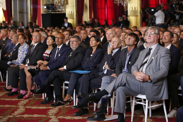 """General view of """"France is committed to climate. Go COP21 !"""" event at the Elysee Palace in Paris"""