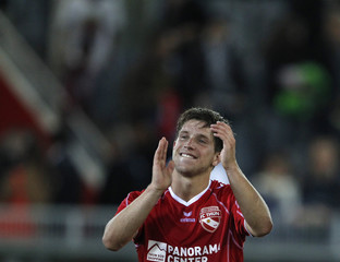 FC Thun's Luethi reacts after scoring against Vllanznia during their Europa League second qualifying round, second leg soccer match in Thun