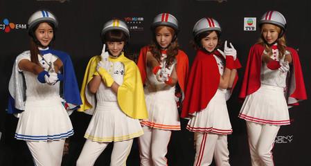 Crayon Pop pose on the red carpet during Asian Music Awards in Hong Kong