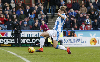 Michael Hefele scores the second goal for Huddersfield Town