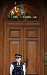A police officer stands in front of the Libyan Embassy in London