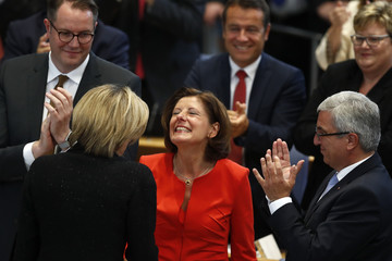 Dreyer of SPD is congratulated after being sworn-in as Prime Minister of Rhineland-Palatinate during a parliament session in Mainz