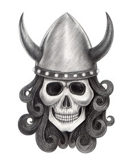 Art Viking Skull. Hand pencil drawing on paper.