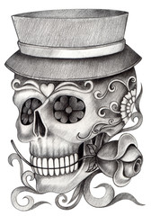 Sugar Skull day of the dead.Hand pencil drawing on paper.