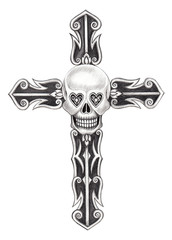 Art skull cross.Hand pencil drawing on paper.