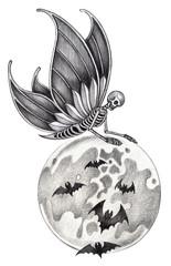 Art fantasy surreal skull.Hand pencil drawing on paper.