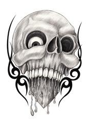 Art skull tattoo.Hand pencil drawing on paper.