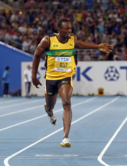 Bolt of Jamaica crosses the finish line to win the men's 200 metres final at the IAAF World Athletics Championships in Daegu
