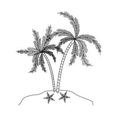 monochrome silhouette of island with palm trees and starfish vector illustration