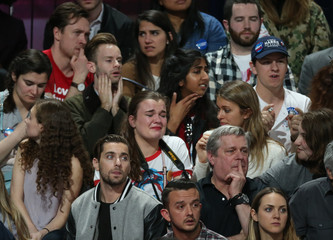 Supporters of U.S. Democratic presidential nominee Hillary Clinton react at her election night rally in Manhattan