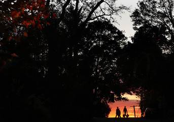 Kids are seen in silhouette walking up a street during Halloween in Port Washington,New York