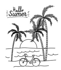 monochrome poster of hello summer with landscape of sea and sunset between palm trees vector illustration