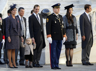 Princess Caroline of Hanover, Sacha Casiraghi, Andrea Casiraghi, Prince Albert II of Monaco, Tatiana Santo Domingo and Pierre Casiraghi attend the celebrations marking Monaco's National Day at the Monaco Palace in Monte Carlo