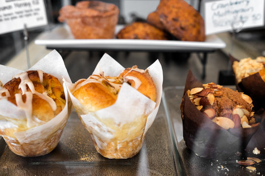Morning pastries on display for sale at a cafe or bakery