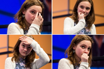 "A combination photo shows Caitlyn Marentette of Knoxville, Tennessee, waiting nervously for her turn to spell ""béchamel"" during the third round of the 88th annual Scripps National Spelling Bee at National Harbor, Maryland"