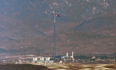 A North Korean flag on a tower flutters in the wind at a North Korean village near the truce village of Panmunjom in the demilitarized zone separating the two Koreas in this picture taken just south of the border, in Paju