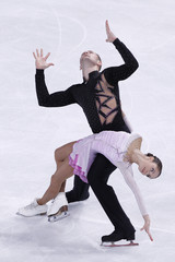 Bazarova and Larionov of Russia  perform during the Pairs Short Program in the Bompard Trophy event at Bercy in Paris