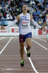 Maslak of the Czech Republic reacts as he wins the men's 400 metres final at the European Athletics Championships in Helsinki