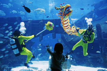Divers perform a dragon dance at the Shipwreck Habitat of the S.E.A. Aquarium ahead of Chinese New Year in Sentosa