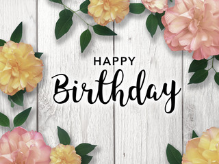 Happy Birthday Card with Flower Border