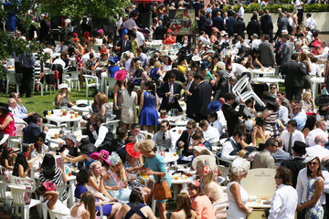 Racegoers attend the last day of the Royal Ascot horse racing festival