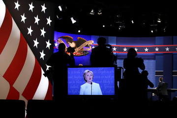 Democratic U.S. presidential nominee Hillary Clinton speaks during their third and final 2016 presidential campaign debate with Republican U.S. presidential nominee Donald Trump at UNLV in Las Vegas