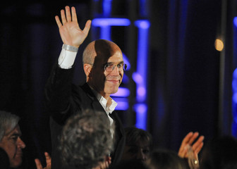 Movie producer Jeffrey Katzenberg waves at the audience at the 2nd Annual Reel Stories, Real Lives event in Los Angeles