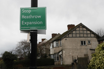An anti-Heathrow airport expansion poster is seen in the village of Harmondsworth near London