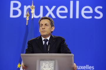 France's President Sarkozy attends a news conference at an European Union summit in Brussels