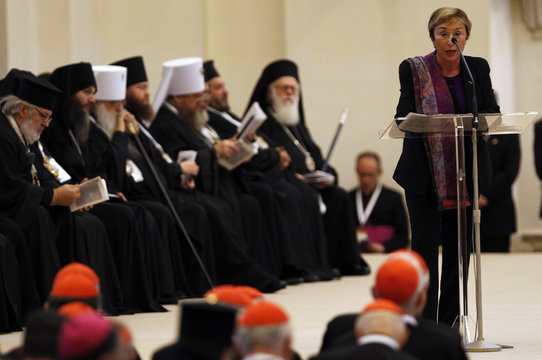 French literary theorist and linguist Julia Kristeva speaks in Assisi