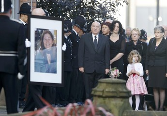 Colleagues, friends and family members wait for the funeral service for Greater Manchester Police constable Fiona Bone at Manchester Cathedral in Manchester