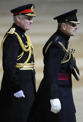 Britain's Prince Philip leaves after taking the salute at the Household Division Beating Retreat at Horse Guards Parade in central London