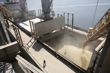 A dockyard worker watches on as barley grain is poured into a ship in Nikolaev