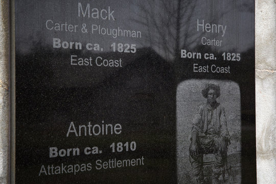 A memorial wall at the Whitney Plantation in Wallace, Louisiana
