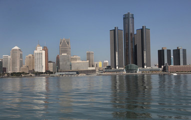 The city of Detroit Michigan skyline is seen along the Detroit river from Windsor Ontario