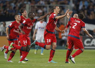 Paris St Germain's Ibrahimovic celebrates after scoring the second goal for the team during their French Ligue 1 soccer match against Olympique Marseille at the Velodrome Stadium in Marseille