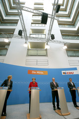 German Chancellor Merkel and top state election candidates Haselofft Wolf and Kloeckner addresses news conference at CDU party headquarters in Berlin