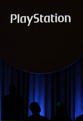 A Sony Corp's PlayStation logo is displayed at the company's strategy briefing event in Tokyo