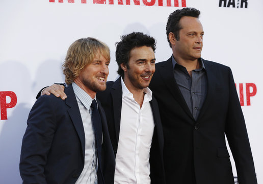 """Movie director Levy poses with cast members Wilson and Vaughn at the premiere of """"The Internship"""" in Los Angeles"""