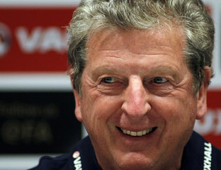 England's head coach Roy Hodgson attends a news conference at the Olympic stadium in Kiev