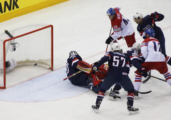 Hertl of the Czech Republic scores goal against U.S. in men's ice hockey World Championship quarter-final game in Minsk