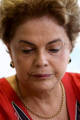 Brazil's President Dilma Rousseff looks down as she works at her office in Brasilia