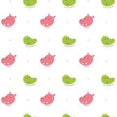 Vector illustration seamless pattern with crocodile and hippo face