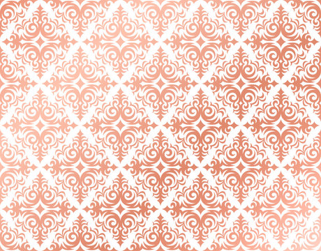 Rose gold background in a damask pattern design, pink and peach feminine colors, elegant and shiny metal shades, delicate and glossy wallpaper.