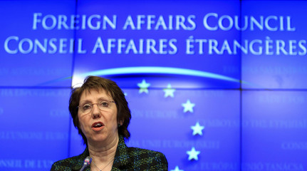 Catherine Ashton holds a news conference at the end of a European Union foreign ministers meeting in Brussels