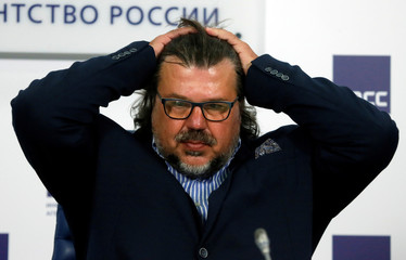 Head of Russia's Rowing Federation Bout attends a news conference in Moscow
