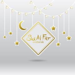 White and Gold Square Eid al Ftir with Gold stars and crescent moon Decorations Vector Design. Ramadan Mubarak.